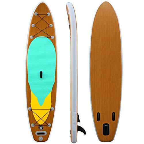 Tabla De Surf De Tabla De Paddle Surf De Grano De Madera 125.9'* 31.8' * 5.9'Tabla De Surf Stand-Up para Adultos Tabla De Paddle Surf Tabla De Paddle Surf Inflable, Rodamiento 297LB, 315L