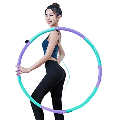 Smart Hula Hoops,Relleno De Espuma Hula Hoop Desmontable De 8 Secciones, Conteo Inteligente 360 Grados De Masaje Hula Hoop Fitness,Púrpura