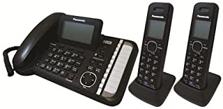 Panasonic 2-Line Corded/Cordless Phone System with 2 Handsets - Answering Machine, Link2Cell, 3-Way Conference, Call Block, Long Range DECT 6.0, Bluetooth - KX-TG9582B (Black)