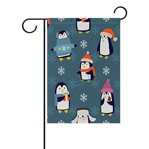 JIRT Jardin Drapeau 30,5 x 45,7 cm (30,5 x 45,7 cm) de Noël Joli Motif Pingouins Polyester Banner Double Face pour intérieur ou extérieur pelouse Cour Décoration, Image 501, 12x18(in)