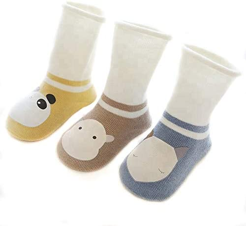 Nemo Baby Unisex Baby Girl Boy Organic Cotton Knee High Socks All seasons (pack of 3) (6-12 month, Mustard/Ivory, Brown/Ivory, Blue/Ivory)