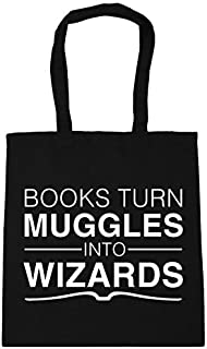 Books turn Muggles into Wizards Tote Shopping & Gym & Beach Bag 42cm X 38cm with Handles By Judith43Herty