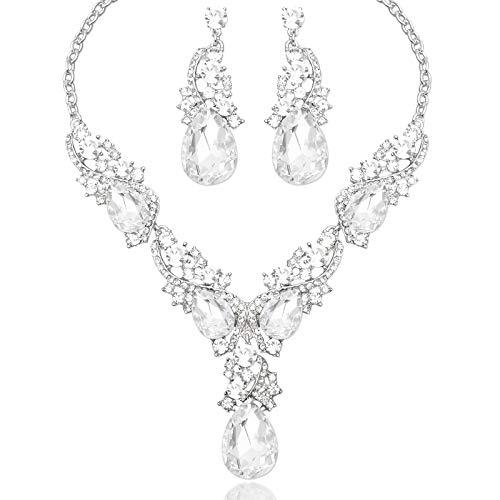 Collar de novia elegante con cristales austriacos y pendientes indios para novias, accesorios de disfraces de boda, conjuntos de joyas para novias, regalos para mujer (color metálico: blanco)
