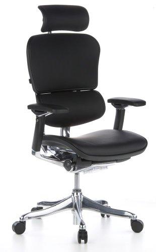 hjh OFFICE 652205 Chefsessel ERGOHUMAN Plus Leder Schwarz hochwertiger Bürosessel mit Vollausstattung, ergonomisch