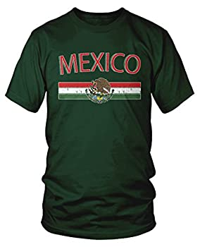 Amdesco Men s Mexican Flag and Coat of Arms Mexico T-Shirt Forest Green Large