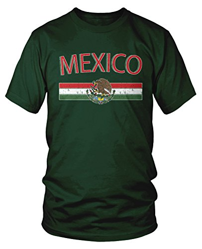 Amdesco Men's Mexican Flag and Coat of Arms, Mexico T-Shirt, Forest Green Large