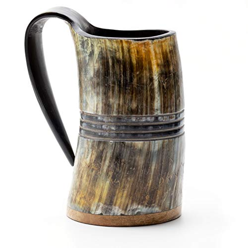 Norse Tradesman Genuine Viking Drinking Horn Mug - 100% Authentic Beer Horn Tankard w/Rosewood Bottom & Ring Engravings | 'The Eternal', Unpolished, Large