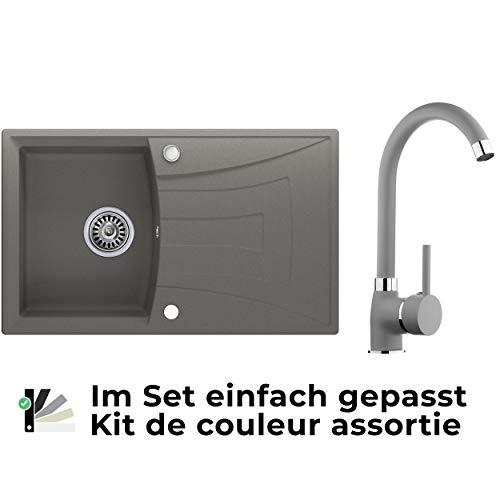 Spülbecken Grau 77 x 47 cm, Granitspüle + Küchenarmatur + Siphon, Küchenspüle ab 45er Unterschrank in 5 Farben mit Armatur Varianten, Einbauspüle von Primagran