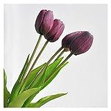 XIAOXUANMY Künstliche Blumen 5 stücke/bündel Real Touch Rosa Künstliche Tulpen Blumen Hause Hochzeit Dekoration Bouquet Hohe Qualität Luxus Silikon Gefälschte Blumen (Farbe : Deep Purple)