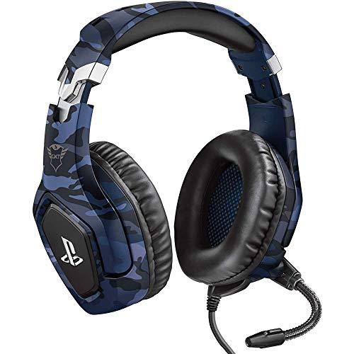 Trust Gaming GXT 488 Forze-B [Oficjalnie licencjonowany na PS4] Zestaw słuchawkowy do gier Playstation 4 z elastycznym mikrofonem i pilotem Inline - niebieski