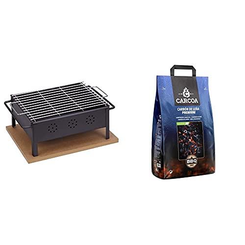 Sauvic 02906 Barbacoa Sobremesa 30X25 Con Parrilla Inoxidable 18/8, Negro + Carcoa Carbón Vegetal 3 Kg. Especial Para Barbacoa Y Grill. Rápido Encendido Y Larga Duración. Calidad Premium.