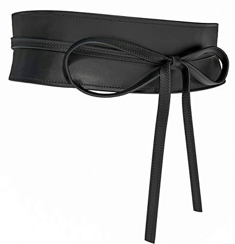 Viannchi Cinturón de mujer Fajín cinturón ancho en Ecopiel ajustables talla única presentación caja transparente (Negro)
