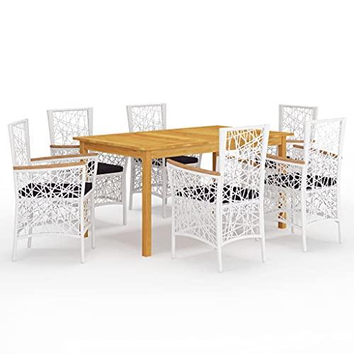vidaXL Gartenmöbel Set 7-TLG. Sitzgruppe Sitzgarnitur Gartengarnitur Tisch Stühle Gartentisch Esstisch Gartenstuhl Sessel Gartenset Weiß