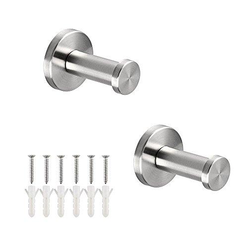 LumenTY - Juego de 2 ganchos de acero inoxidable para colgar en la pared, estilo cepillado 304, para baño, armarios, abrigos, toallas y batas (5 cm)