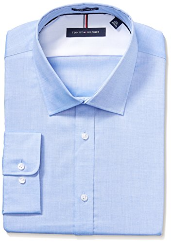 Tommy Hilfiger Men's Non Iron Slim Fit Solid Spread Collar Dress Shirt, Blue, 16' Neck 32'-33' Sleeve