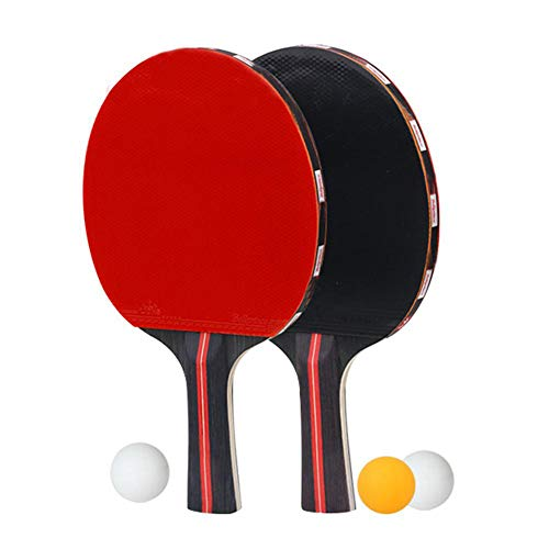 Amazing Deal Zcbm Table Tennis Racket Bat Set Long Handle Double-Sided Rubber Pingpong Paddle with O...