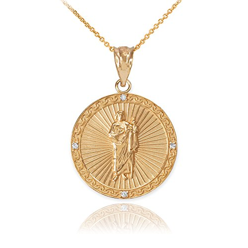 9 ct Gold Yellow Gold St Jude Diamond Disc Pendant Necklace Necklace (Available Chain Length 16'- 18'- 20'- 22') B