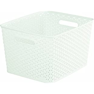 Curver My Style Large Rectangular Storage Basket, Vintage White, 18 Litre