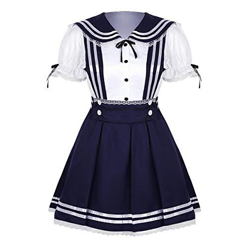 iEFiEL Damen Schulmädchen Kostüm Mädchen Schuluniform Anzug Bluse Hemd mit Hosenträger Rock Minirock Matrose Cosplay Outfits Navy Blau&Weiß Small