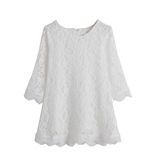 TTYAOVO Princesa Niña Cordón Vestido Casual Flor Muchachas Bebé Ropa Talla 130 (5-6 años) 1227 Blanco