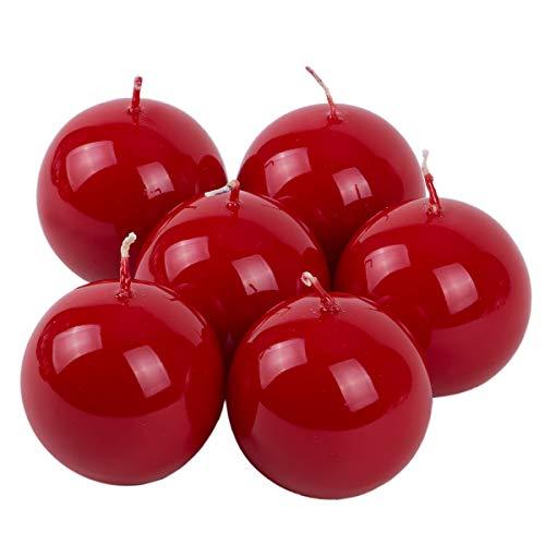 holzalbum Kugelkerzen 6 Stück Weihnachtskerzen Ø 6 cm glänzend rote Kugel Wachskerzen