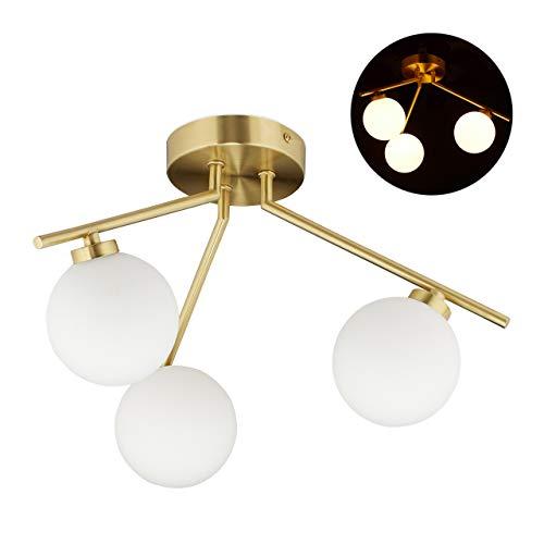 Relaxdays Deckenlampe GLOBI, 3-flammig, G9 Fassung, Kugeln aus Milchglas, Midcentury Lampe, H x D: 24,5 x 36 cm, gold