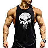YeeHoo Men's Skull Gym Cotton Tank Tops Muscle Bodybuilding Stringer Vest Sleeveless Weight-Training T-Shirt