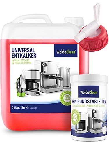 Entkalker und Reinigungtabletten für Kaffeevollautomaten Kaffemaschinen - 5 Liter Kanister inkl. Ausgießer + 150 Reinigungstabletten a 2g