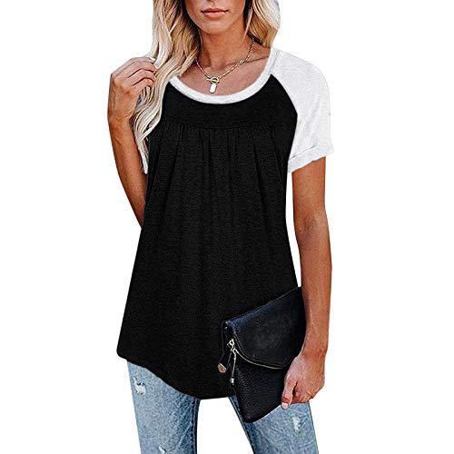 XUEbing Blusa plisada de verano de color sólido de manga corta casual cuello redondo una línea túnica blusa algodón linda llamarada blusa