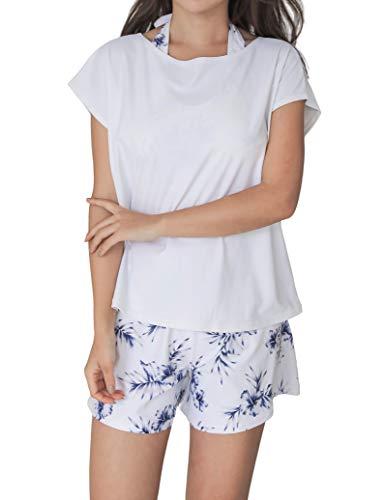 [COTARON] 水着 レディース 体型カバー タンキニ カバーアップ オーバーTシャツ ショートパンツ 4点セット (9ホワイト×ハイビスカス, 2XL)