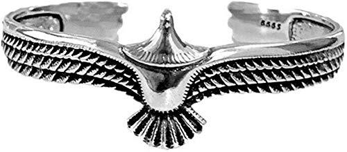 HHYSPA S925 Silver Sterling Eagle Cuff Bracelet Fashion Vintage Sterling Silver Eagle Cuff Adjustable Opening Bracelet for Men Women (Silver)
