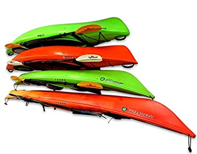 StoreYourBoard 4 Kayak Storage Rack, Wall Mounted Indoor Garage Organizer, Holds up to 400 lbs.