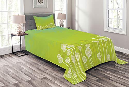 ABAKUHAUS Löwenzahn Tagesdecke Set, Wilde Löwenzahn-Blüten, Set mit Kissenbezug farbfester Digitaldruck, für Einzelbetten 170 x 220 cm, Apfelgrün Seafoam