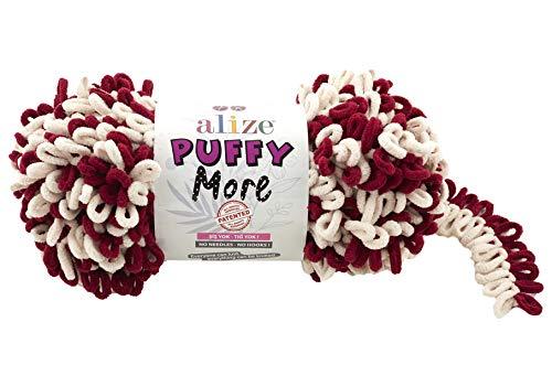 Alize Puffy More ,2 Skeins 10.58 Oz 24 Yds 100% Micropolyester ,Loop Yarn, Blanket Yarn, Velvet Yarn, Easy Knitting Yarn, no Hook , no Needle, New Yarn, Puffy Yarn, Bulky, Baby Yarn, Finger (6271)