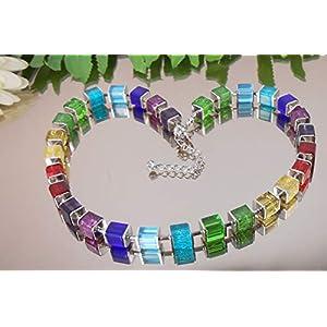 Exclusive GLAS Würfelkette MULTICOLOR 50 cm/DESIGN Würfel Collier Bunt /1003_50cm
