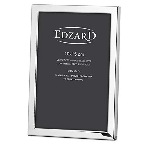 EDZARD Fotorahmen Bergamo, für Foto 10 x 15 cm, edel versilbert, anlaufgeschützt,