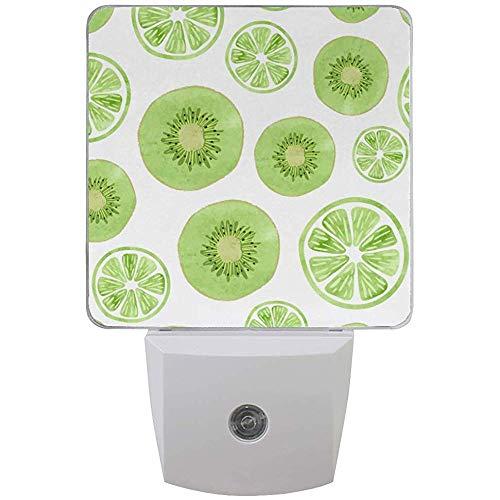Plug-In Nachtlicht Früchte grüne Kiwi Limette Scheiben Nachtlichter mit Auto Dämmerung bis Morgendämmerung Sensor Nachtlichter