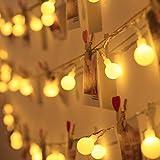 LE Cadena de Luces con Enchufe 10m 100 LED Blanco Cálido 3000K Guirnalda de Luces Impermeable 8...