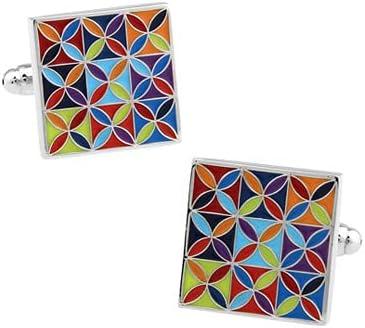GZBSTDQ Enamel Cufflinks, Square Color Carved Cufflinks, Flower Cufflinks, Men's Wedding Jewelry Cufflinks