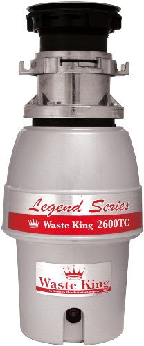 Waste King L-2600TC Controlled Activation 1/2 HP Garbage Disposal with Safer Controlled Grinding, Power Cord Included