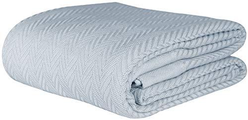 Threadmill Home Linen Herringbone Soft Breathable 100% Cotton Blanket King Size Dark Grey