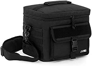 JOYHILL Tactical Lunch Bag, Insulated Lunch Bag for Men Adult, Thermal Lunch Bag Lunch Cooler with Should Strap, Large Lunch Box Bag Meal Prep Lunch Cooler for Work School Picnic-Black