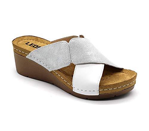 LEON 1008 Zuecos Zapatos Zapatillas de Cuero para Mujer, Blanco, EU 41