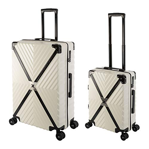 Travelhouse Miami X Cross Zip Light T6077 - Trolley rigido da viaggio, in policarbonato, disponibile in diverse misure e colori, Whitepearl Weiß (Bianco) - Miami X Cross ZIP T6077