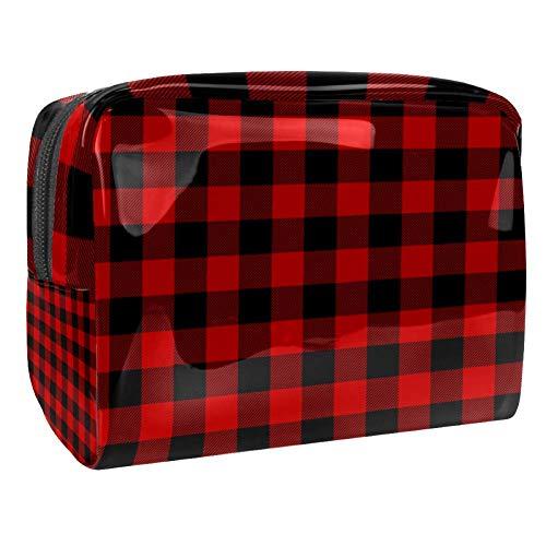 TIZORAX Trousse de toilette pour femme Rouge et noir carré, carré, trousse de toilette de voyage en PVC avec fermeture éclair