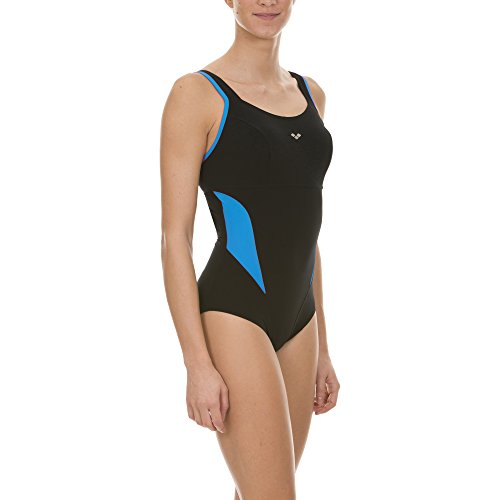 arena Damen Bodylift Badeanzug Makimurax Low C-Cup (Shapingeffekt, Figurformend, Schnelltrocknend, UV-Schutz), Black-Turquoise (52), 42