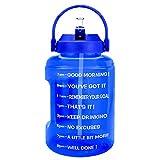 BuildLife Botella de agua de 2,5 l con diseño de estrellas y marcador de tiempo motivador, sin BPA, boca ancha con asa, reutilizable, antigoteo (azul, 2,5 L)