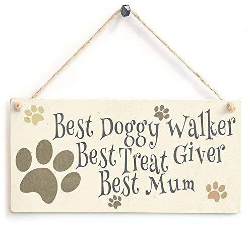 CoareL Funny Plaque Gift Best Doggy Walker Best Mum Cute Dog Lover Sign Outdoor Door Wooden Sign Wall Plaque Decoration