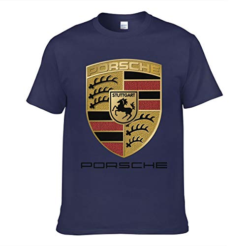 Tシャツ メンズ 半袖 Guys Porsche-Logo プリント おしゃれ ネービー