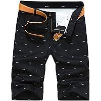 None Brand - Pantalones cortos para hombre, de verano, de moda, color sólido, informal, hasta la rodilla, talla grande, 28 40, rectos Negro Negro ( 28
